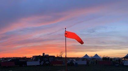 Winds howled during the Mayday STOL Drag, curtailing some of the activities. But the winds relented on occasion, including during this sunset. Photo by Alicia Herron.