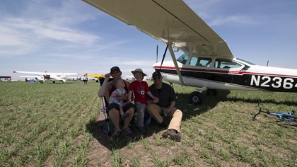 Sarah and Nick Step and their children flew their Cessna 182 from the Denver area to Wayne, Nebraska, for a day at the show and a night of camping. Photo by Kevin Cortes.