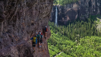 You can see Bridal Veil Falls, Colorado's highest free falling waterfall, from the two mile trail along a sheer cliff known as the Via Ferrata. With a guide, even beginners can experience this unique trail. Photo courtesy of Visit Telluride, Todd Rutledge.