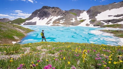 Ice Lake Basin Trail, one of the most popular hikes in the San Juan National Forest, takes you along meadows full of wildflowers and electric blue alpine lakes. Photo courtesy of Visit Telluride, Ryan Bonneau.