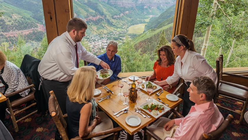 Dining with a view: Enjoy an aerial view of Telluride from Allred's Restaurant perched atop the San Sophia Ridge, reachable via free gondola ride. Photo courtesy of Visit Telluride, Tony Demin.