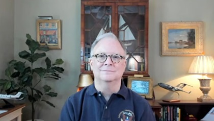 NTSB Chairman Robert Sumwalt plans to step down from his post on June 30. Sumwalt, pictured here during an online interview with AOPA Air Safety Institute Senior Vice President Richard McSpadden, said an aviation accident sparked his interest in aviation.