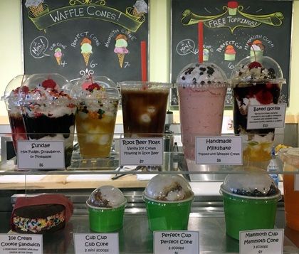 Among the fun stops in the Mammoth Lakes area for food, drink, and gifts is Mammoth Fun Shop, where they hand-dip ice cream into a variety of sweet treats. Photo by MeLinda Schnyder.