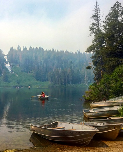 At 8,600 feet, Twin Lakes—a single lake with a narrow choke in the middle—is the lowest lake in the Mammoth Lakes Basin and the only one accessible by car year-round. Boat rentals are available in the summer for fishing and recreation. Photo by MeLinda Schnyder.