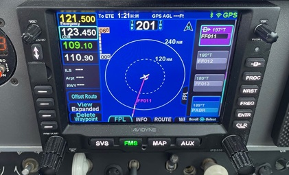 The GPS course indicates 201 degrees, but the magnetic course indicated a conflicting reading during a flight over the North Pole. Photo courtesy of Adrian Eichhorn.