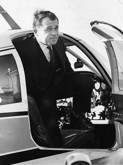 Lawyer and pilot F. Lee Bailey exits a small airplane. Photo by Ted Dully, The Boston Globe via Getty Images.