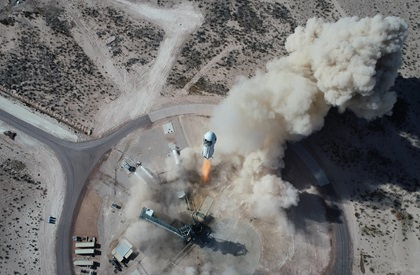 New Shepard NS-14 lifts off from Launch Site One in West Texas on January 14. Photo courtesy of Blue Origin.
