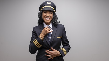 Bessie Coleman, the first female African American and Native American to earn a pilot certificate, became such a hero to Carole Hopson when she was aspiring to become a professional pilot that she decided to write a historical fiction novel about her. Hopson is now a first officer with United Airlines and is releasing the novel about Coleman on the 100th anniversary of her earning her pilot certificate June 15, 1921. Photo by Derrick Davis.