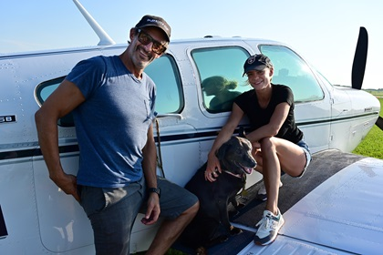 Beechcraft Bonanza pilot Ben Younger and Kimberly Hunt of New York are among the early arrivals July 24 for EAA AirVenture in Oshkosh, Wisconsin. Photo by David Tulis.