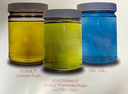 GAMI's G100UL is amber and appears green when mixed with blue avgas. Image courtesy of GAMI.