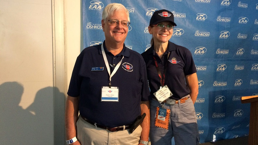 Bob Meder, left, current chair of the National Association of Flight Instructors, and Karen Kalishek, right, incoming chair. Photo by Kollin Stagnito.