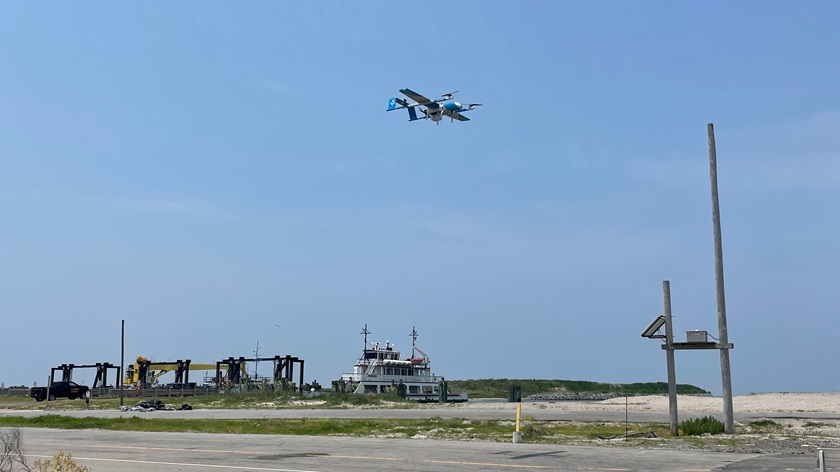 The test flights conducted under the FAA Beyond program, with a waiver to allow flight beyond visual line of sight, included two round trips between Ocracoke Island and Hatteras Island. Photo courtesy of the North Carolina Department of Transportation.