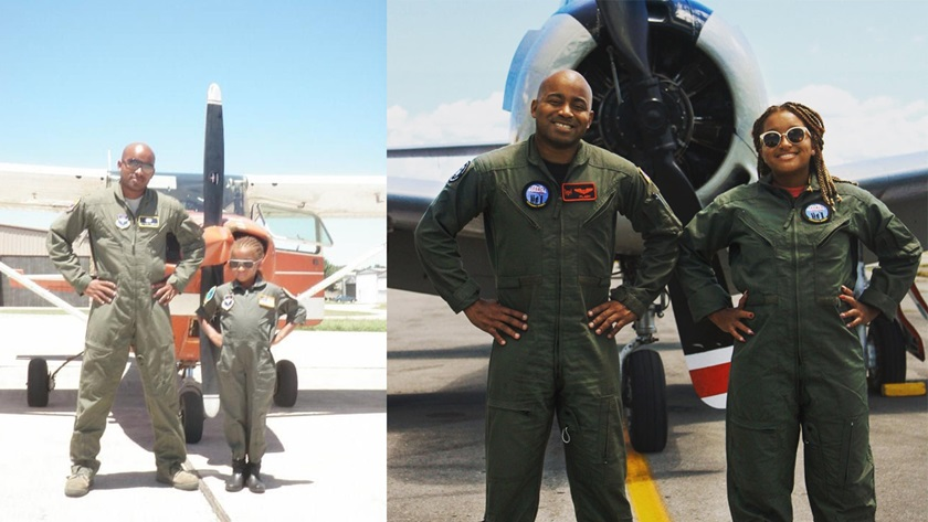 Major Kenneth Thomas introduced his daughter, Dominica, to flying when she was 8 years old. Ten years later she has spread her own wings as a private pilot. Photos courtesy of Kenneth Thomas.
