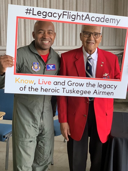 Major Kenneth Thomas with retired Brigadier General Charles McGee at the 2019 Legacy Flight Academy's Eyes Above the Horizon event in Tuskegee, Alabama. Photo by Eater Shim.