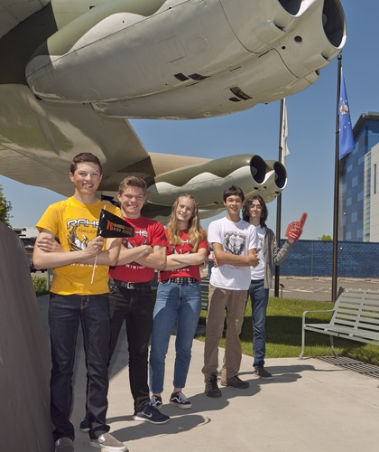 Raisbeck Aviation High School students left to right: Alex Shemwell, Garett Griner, Lyra Young, Jason Poo, and Atticus Bhat. Photo courtesy of GAMA.
