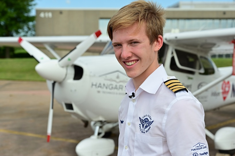 Travis Ludlow, 18, sets a Guinness World Record for being the youngest person to fly solo around the world. Photo by David Tulis.