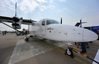 Textron Aviation displays the Cessna SkyCourier 408 twin turboprop cargo or passenger aircraft at Boeing Plaza. Protruding parts were minimized to avoid accidental bumping during quick ground turnarounds or night preflight inspections. Photo by David Tulis.