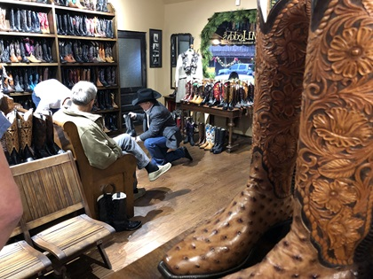 You'll find many stores selling cowboy boots and western wear in the Stockyards National Historic District every day. Photo by MeLinda Schnyder.