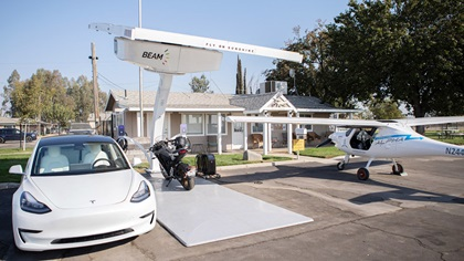 The EV ARC solar charging station was designed by Beam Global to charge all kinds of electric vehicles. The only modification required to charge Pipistrel Alpha Electro batteries was a plug swap. Photo courtesy of Beam Global.