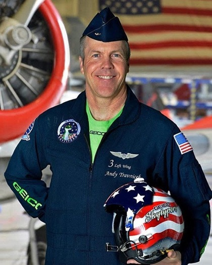 Geico Skytypers Air Show Team pilot Andy Travnicek was killed in an airplane accident August 20. Photo courtesy of the Geico Skytypers Air Show Team.
