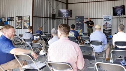 Seminars drew attendees—who stayed socially distanced—including this history/future talk by Hartzell Propeller.