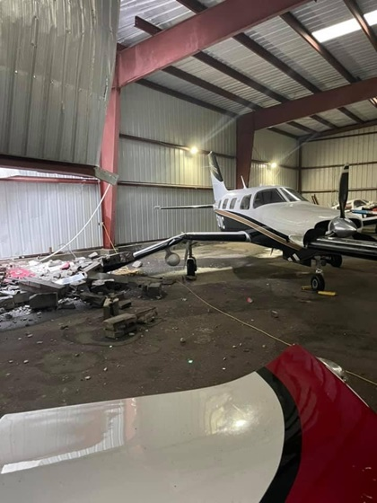 Two hangars were damaged at Louisiana Regional Airport in Gonzales, about 38 miles north of Houma-Terrebonne Airport in Houma and also in the path of the hurricane. A Piper Malibu was damaged by falling debris in one of the hangars, though other aircraft were not. Photo courtesy of AOPA Airport Support Network volunteer Logan Eichelberger.