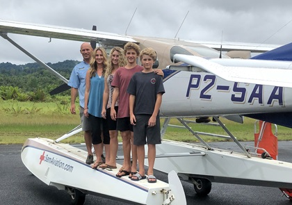 Samaritan Aviation founder Mark Palm and his wife, Kirsten, moved from California to Papua, New Guinea, with their children Sierra, Drake, and Nolan. Photo courtesy of Samaritan Aviation.