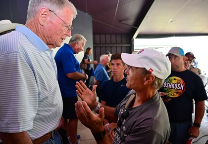 Sen. Jim Inhofe (R. Okla.) answers questions after a Congressional Forum with EAA Chairman and CEO Jack Pelton, center, and AOPA President Mark Baker, center, during EAA AirVenture. Photo by David Tulis.