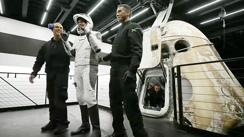 Jared Isaacman, the mission commander who contracted with SpaceX to make Inspiration4 possible, smiles as he emerges from the Crew Dragon capsule on September 18. Image courtesy of SpaceX via YouTube.