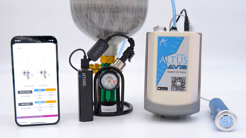 The AVI8 oxygen delivery system uses optical flow measurements to monitor and regulate supplemental oxygen delivery, adding hours of endurance to the compact system. Photo courtesy of Aithre.