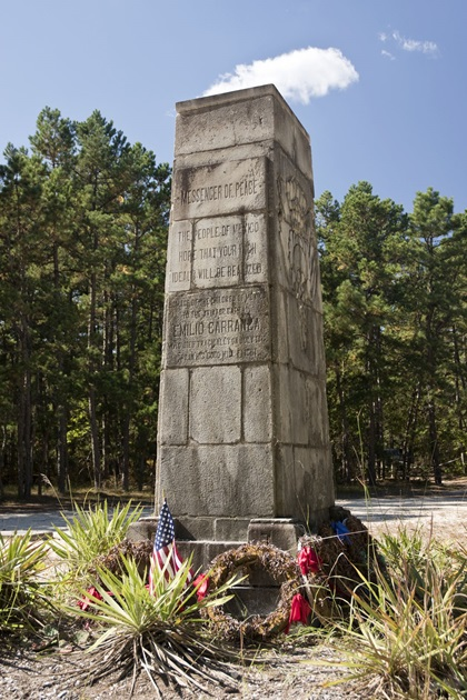 The Carranza Memorial stands at the site of the crash of Emilio Carranza's airplane in 1928. The monument was erected in 1931 with funds donated by Mexican schoolchildren. Photo by Dennis K. Johnson.