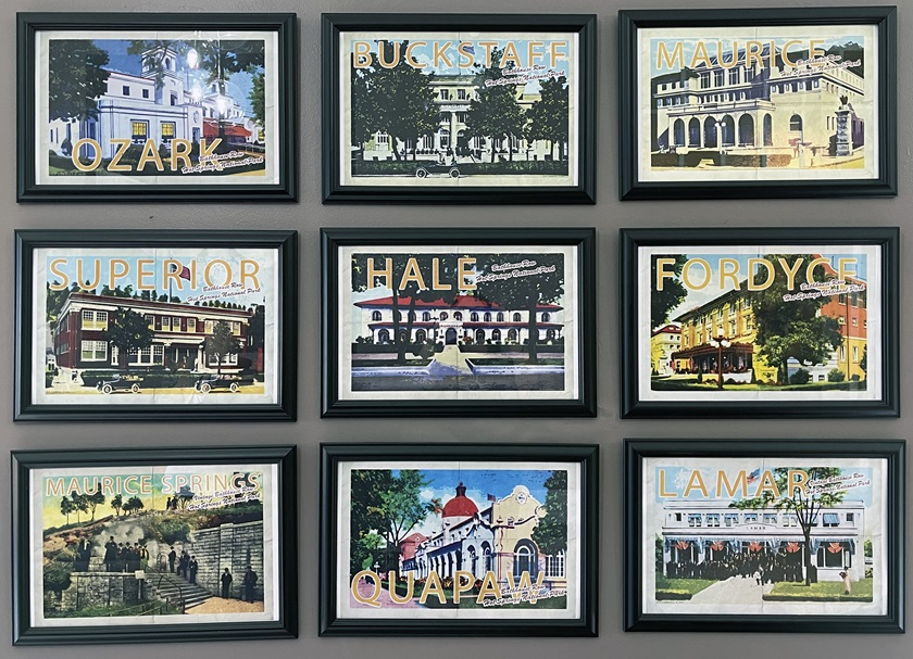 Inside the Hotel Hale, the oldest visible structure on Bathhouse Row, is this display of historic bathhouses. Photo by MeLinda Schnyder.