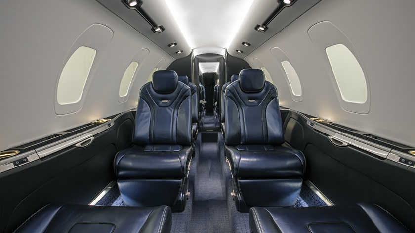 The Citation XLS Gen2 offers six new interior schemes with new styling, individual controls, and a forward couch that allows access to baggage. Image courtesy of Textron Aviation.